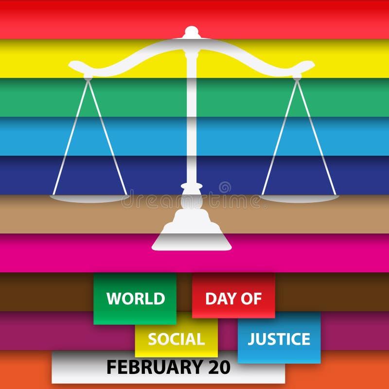 平等地weighten五颜六色的世界天社会正义海报或背景 向量例证