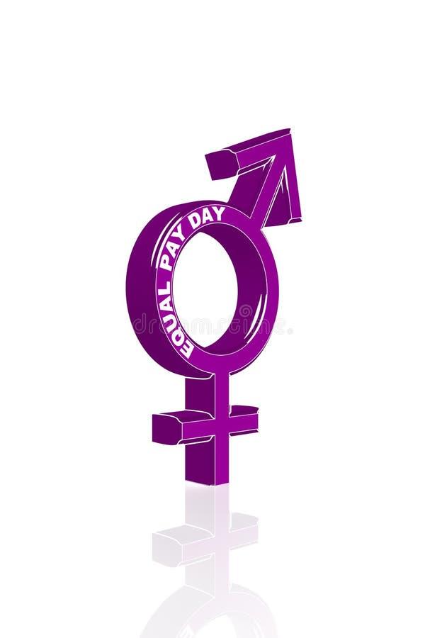 平等的标志在男人和妇女之间 库存例证