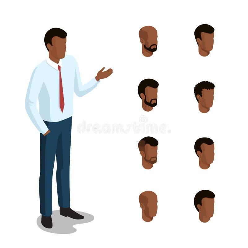 平等量顶头面孔键入人发型负面因素 向量例证