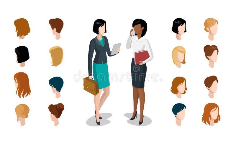 平等量顶头面孔键入妇女发型co 库存例证