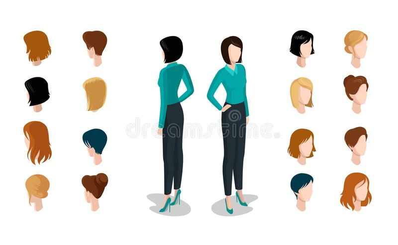 平等量顶头面孔键入妇女发型co 皇族释放例证