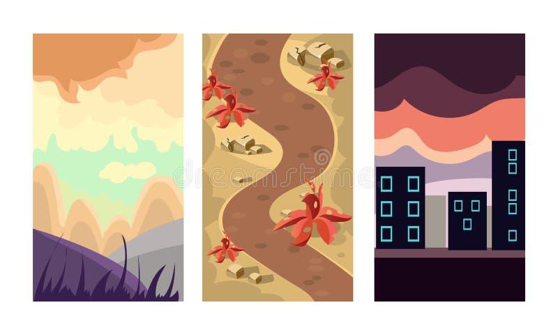 平网上流动比赛的传染媒介setof 3垂直的背景 与山的场面环境美化,肮脏的道路和城市 皇族释放例证