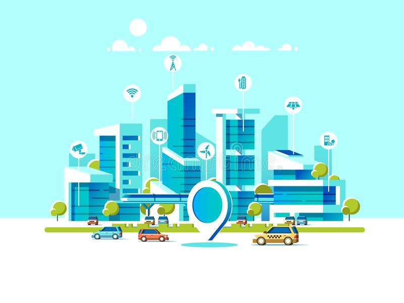 平聪明的城市 用不同的象和元素的都市风景背景 现代的结构 手机控制 向量例证