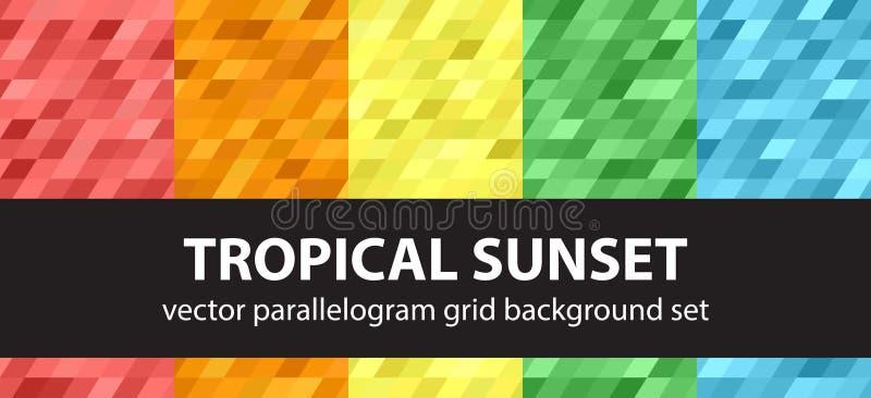 平行四边形样式集合热带日落 导航无缝的几何背景 皇族释放例证