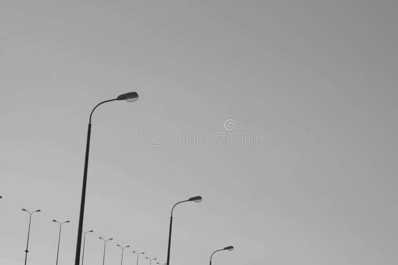 平行的路灯柱黑白背景 图库摄影