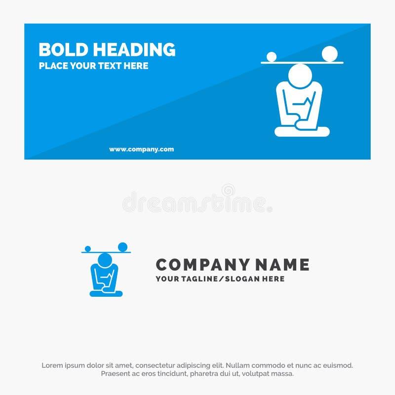 平衡、集中、凝思、头脑、留心坚实象网站横幅和企业商标模板 皇族释放例证