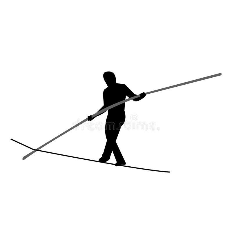 平衡与杆的绳索步行者 皇族释放例证