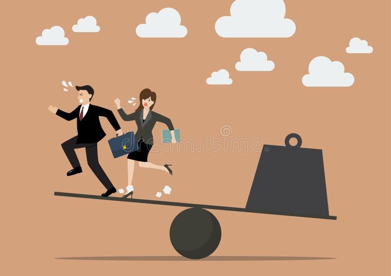 平衡在商人和重量负担之间 向量例证