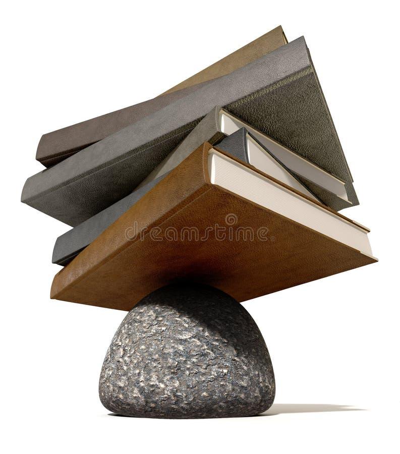 平衡在岩石的书 免版税图库摄影