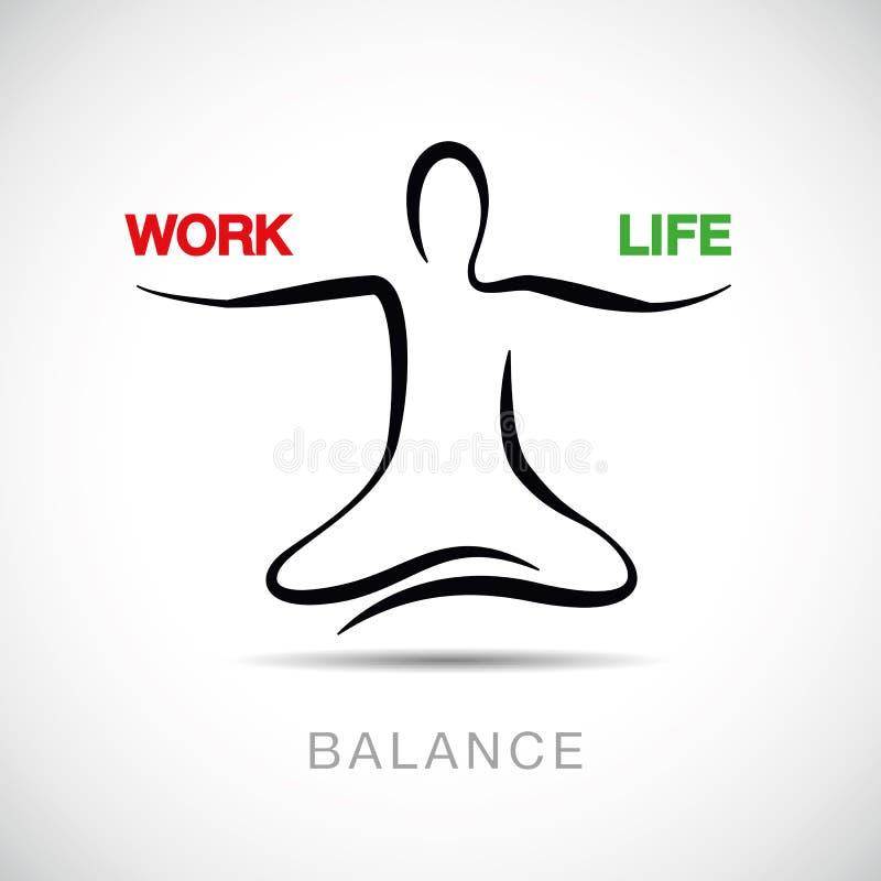 平衡在工作和救生线图画之间的瑜伽姿势的人 库存例证