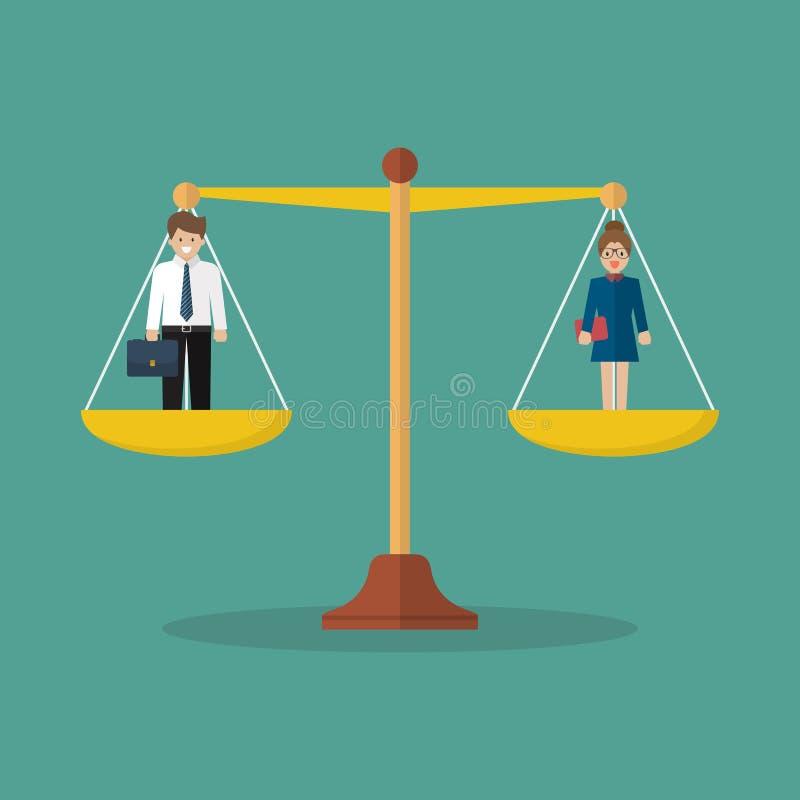平衡在等级的商人和妇女 库存例证