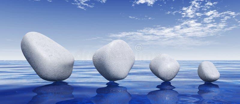 平衡在蓝色海的石头 向量例证