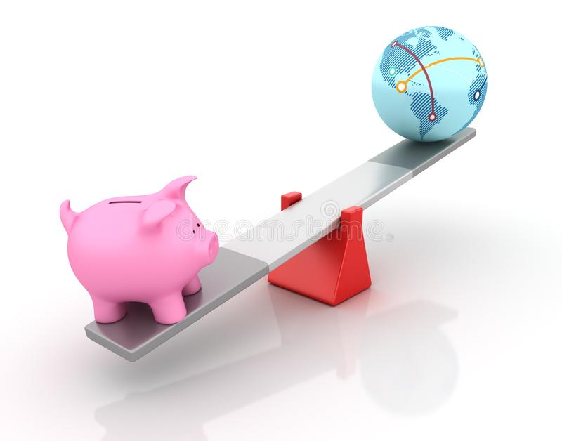 平衡在跷跷板的存钱罐和地球世界 库存例证