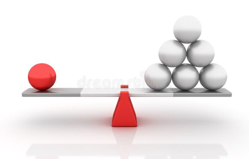 平衡在跷跷板的球形 皇族释放例证