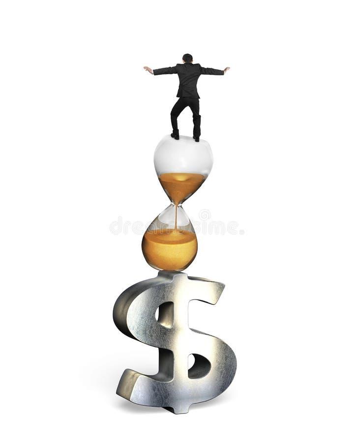 平衡在滴漏和美元的符号的商人 库存例证