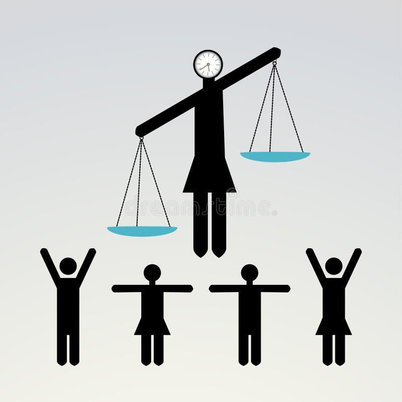 平衡妇女stickpeople 库存例证