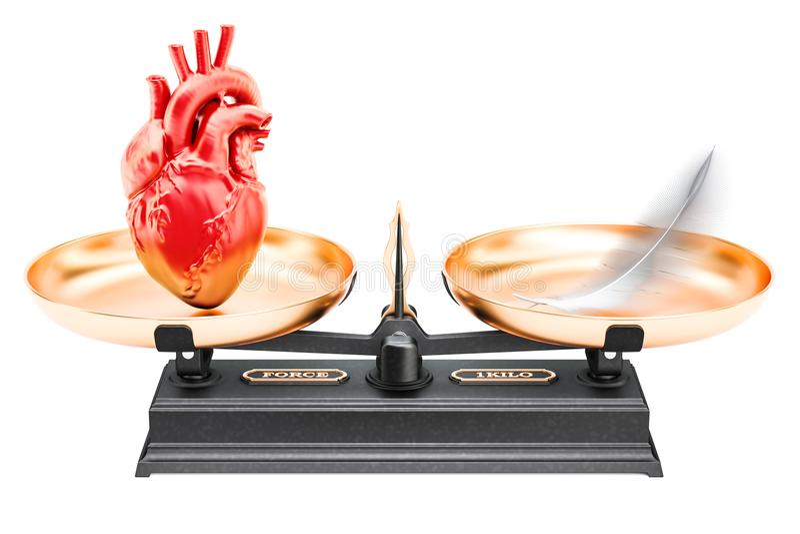 平衡概念、标度与心脏和羽毛 3d翻译 皇族释放例证