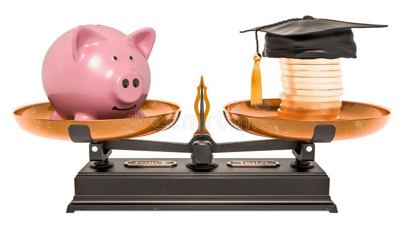 平衡概念、金钱和教育 3d翻译 皇族释放例证