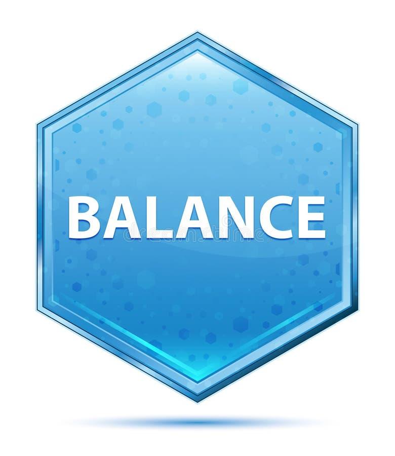平衡水晶蓝色六角形按钮 库存例证