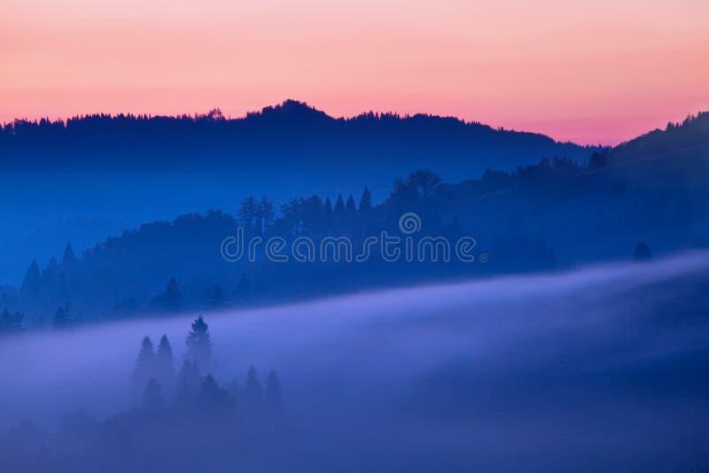 平衡的光的明亮的滚动的乡下 美丽如画的天和华美的场面在春天 喀尔巴阡山脉,斯洛伐克 库存照片