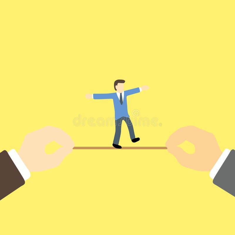 平衡的商人尝试在绳索隐喻冒险在事务 库存例证
