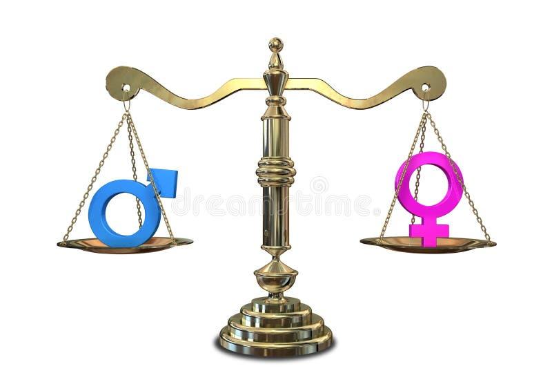平衡的平等性别缩放比例 向量例证