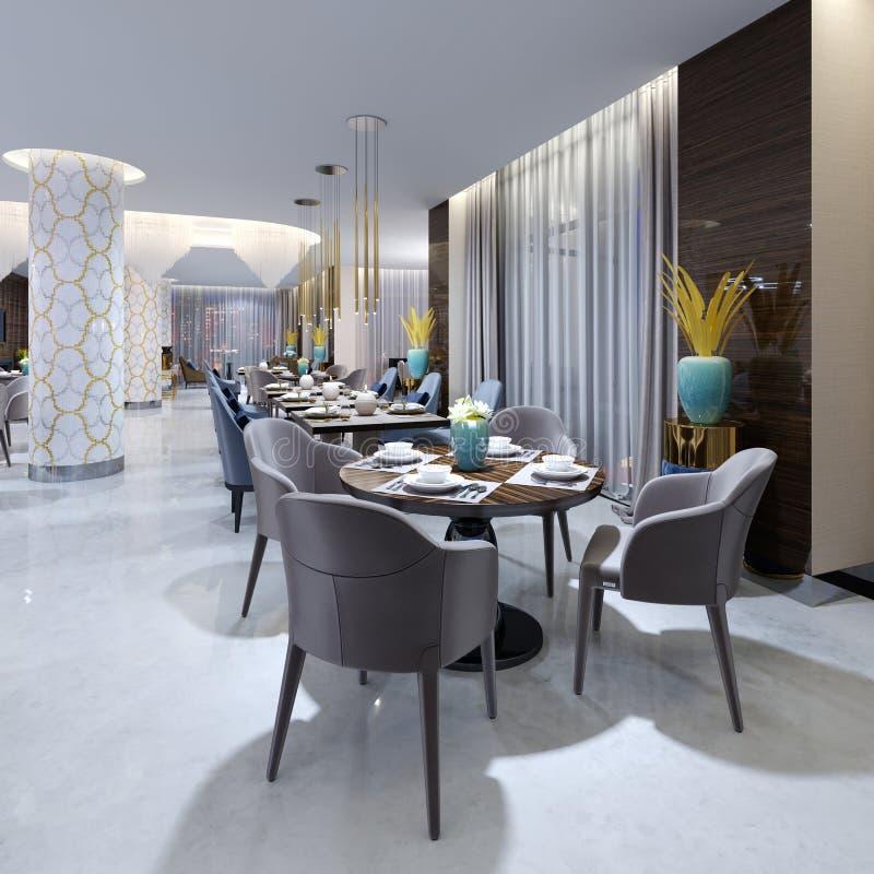 平衡的照明设备的豪华现代餐馆与蓝色和米黄椅子和被计划的桌 在锦砖的白色专栏 皇族释放例证