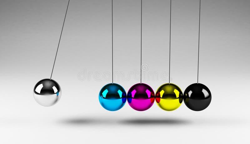 平衡的球cmyk 向量例证