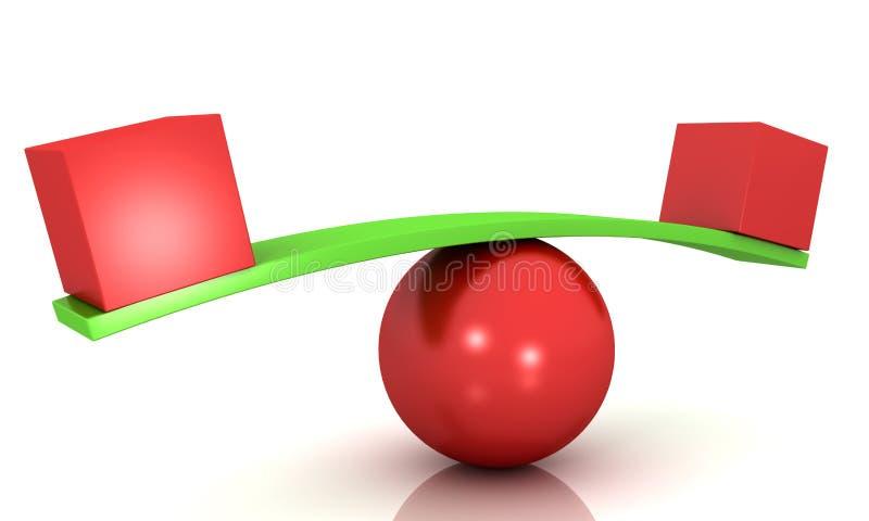 平衡称在红色层数的概念红色立方体 库存例证