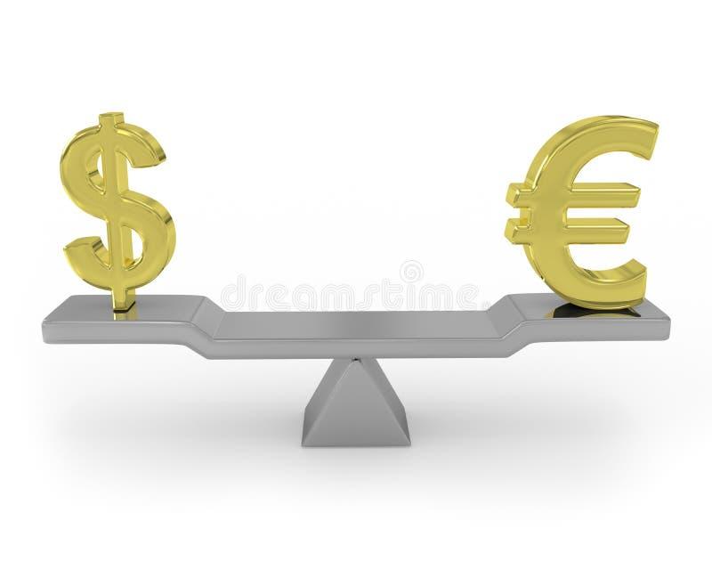 平衡美元欧元 皇族释放例证