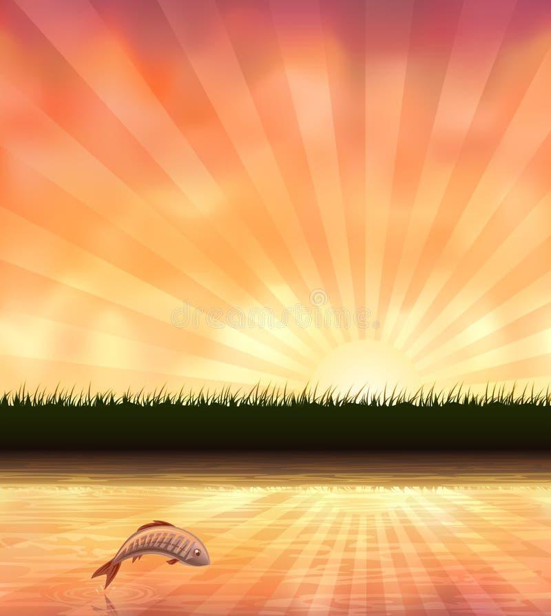 平衡跳出的池塘鳟鱼 皇族释放例证