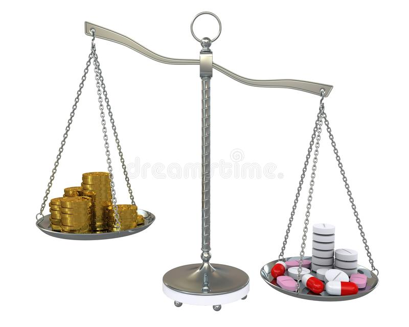 平衡金货币药片缩放比例 向量例证
