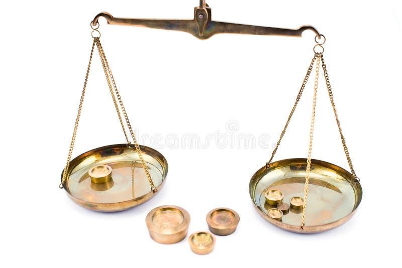 平衡金黄缩放比例重量 库存照片