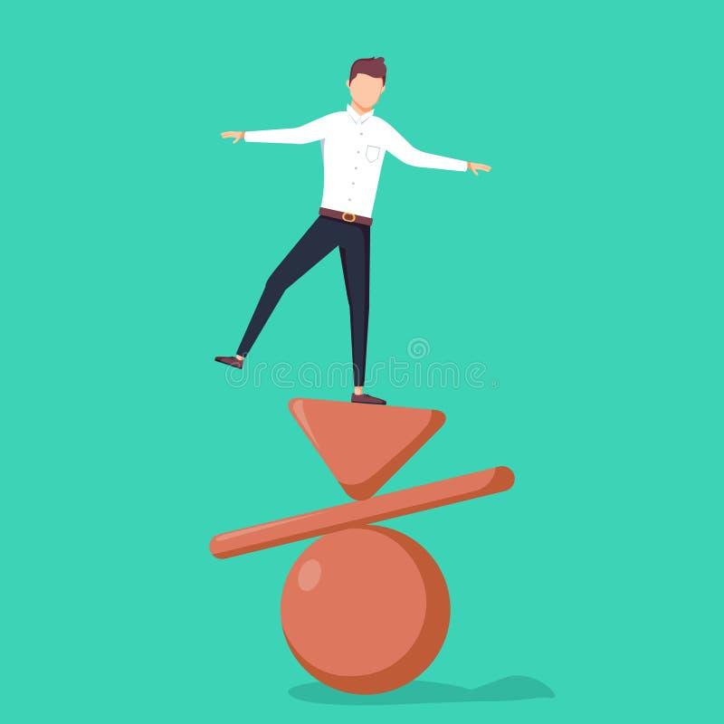 平衡,例证的企业概念 站立在被倒置的金字塔、板条和球顶部的商人 皇族释放例证