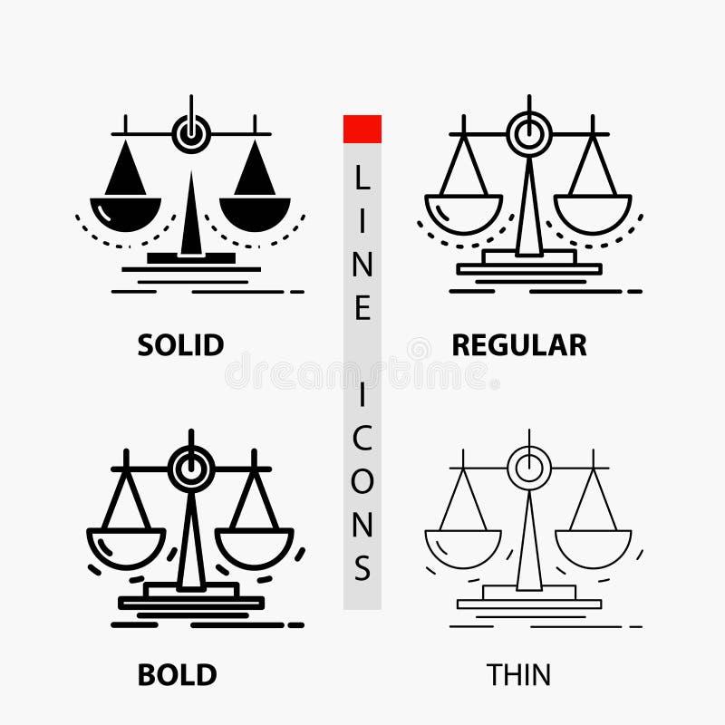 平衡,决定,正义,法律,在稀薄,规则,大胆的线和纵的沟纹样式的标度象 r 向量例证
