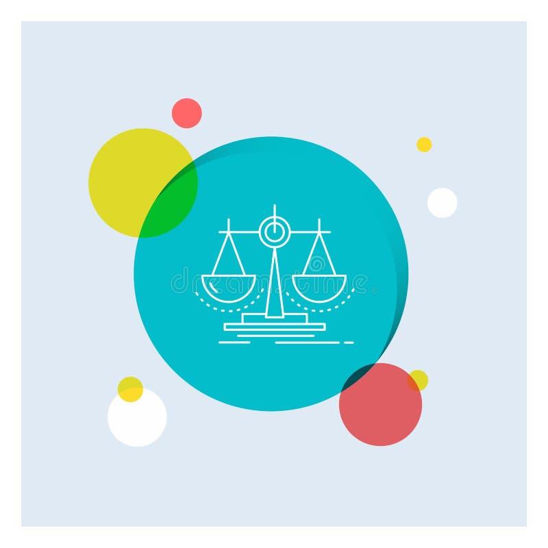 平衡,决定,正义,法律,标度空白线路象五颜六色的圈子背景 库存例证