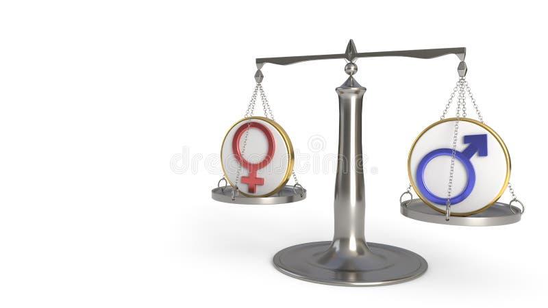平衡, 3d的男人和妇女概念翻译 向量例证