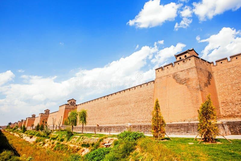 平遥场面城市墙壁 库存照片