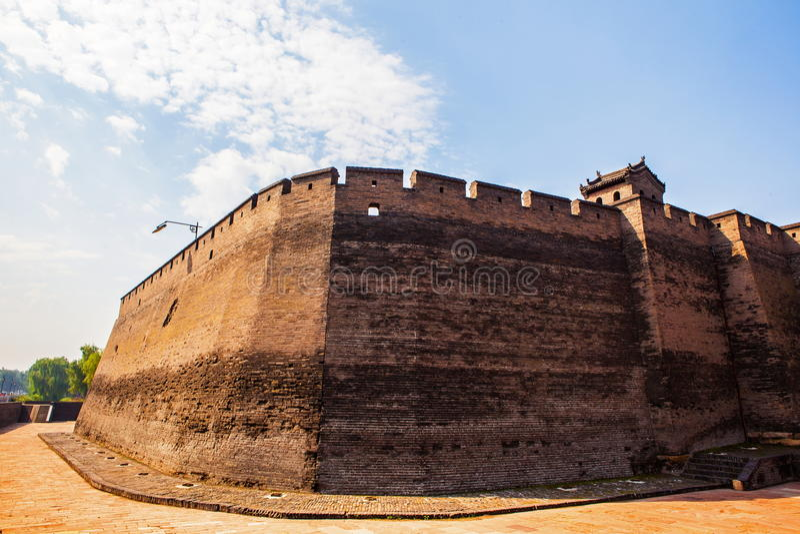 平遥场面门塔和城市墙壁 免版税库存照片