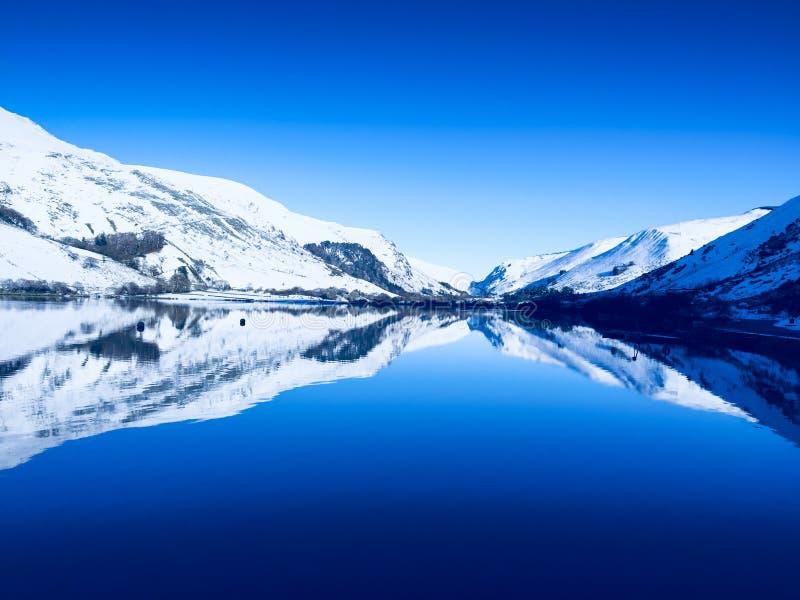 平静和宁静冬天在威尔士 免版税库存照片