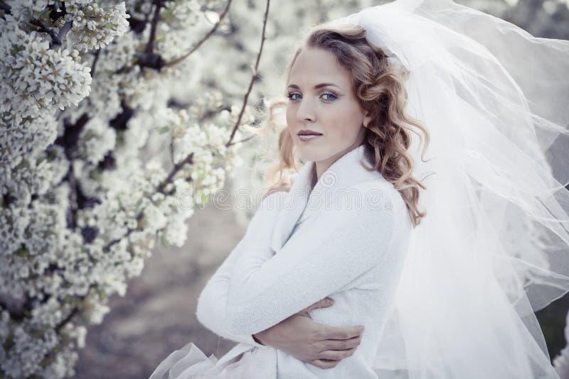 平静新娘的纵向 免版税库存照片