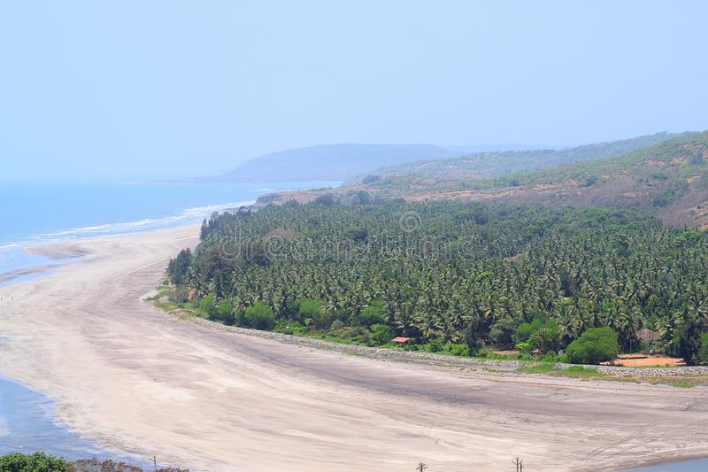 平静的海滩看法与海的挥动与从顶的Anjarle海滩, Konkan,印度的杉树 库存照片