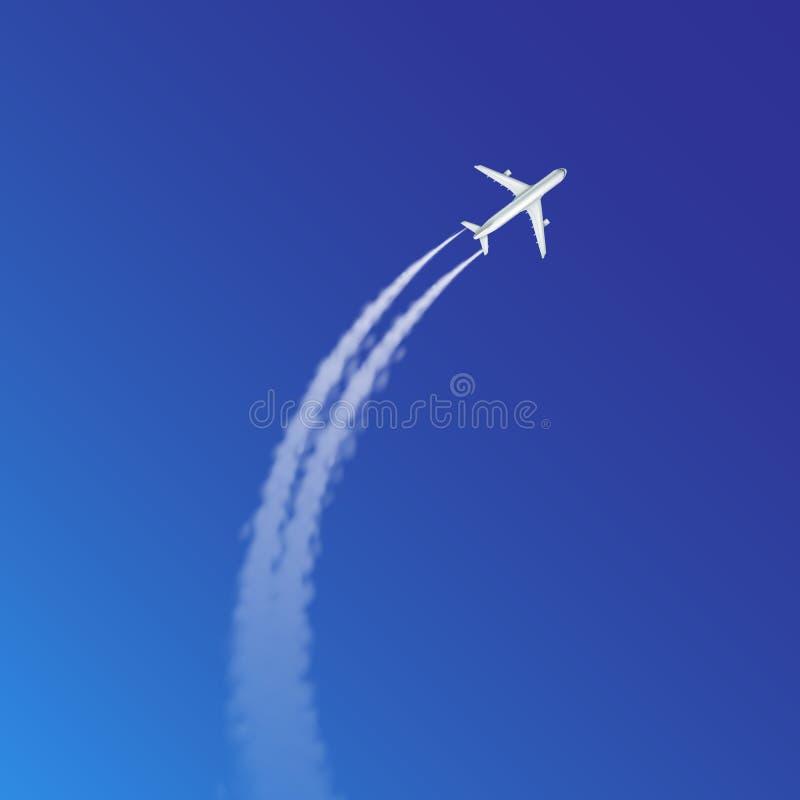 平面圈和弧轨道的传染媒介与白色烟的例证或足迹在天空蔚蓝背景 向量例证