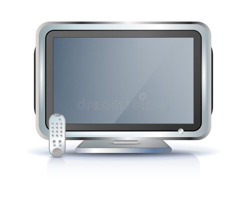 平面屏幕集合电视 皇族释放例证