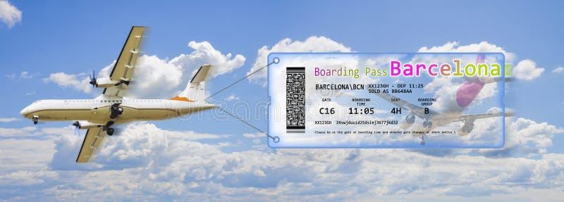 平面拖曳飞机票-飞行到巴塞罗那概念图象 免版税库存照片