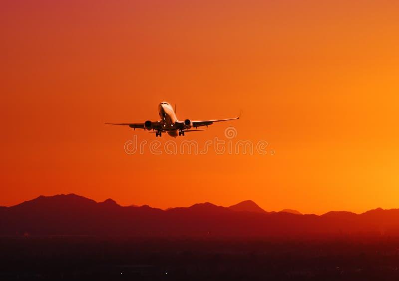 平面日落采取的亚利桑那 库存图片