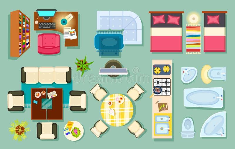 平面的内部顶视图 家具设计 库存例证