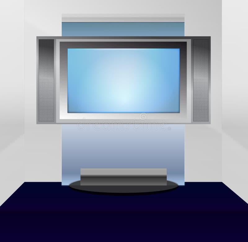 平面的等离子屏幕立场电视 皇族释放例证