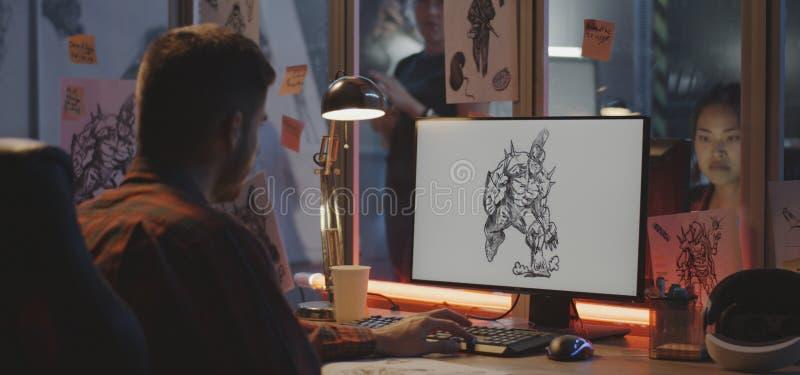 平面设计师绘画电子游戏艺术 库存照片