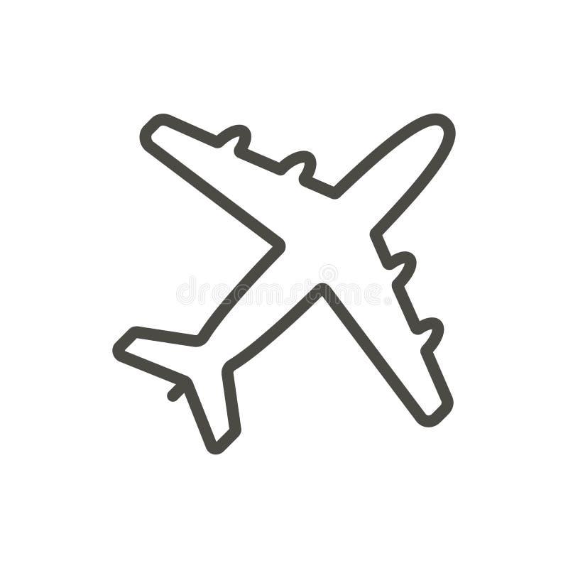 平面象传染媒介 线飞机标志 向量例证